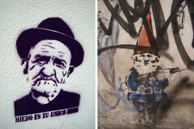 freddy krueger gnome stencil street art buenos aires buenosairesstreetart.com