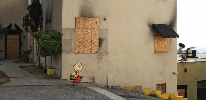 Banksy Charlie Burn Sunset Boulevard Los Angeles charlie brown street art buenosairesstreetart.com BA Street Art
