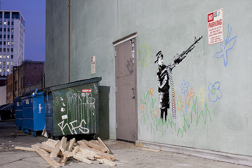 Banksy Crayola Shooter kid with gun Los Angeles