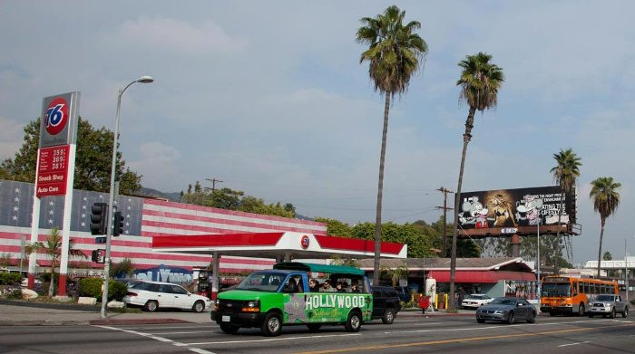 Banksy graffiti billboard Sunset Boulevard and Laurel Avenue Los Angeles BA Street Art buenosairesstreetart.com