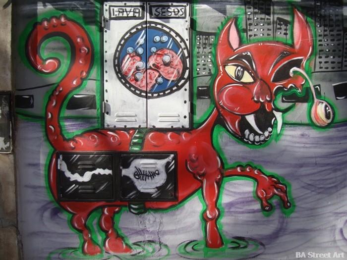 mondo lila gato graffiti buenos aires street art buenosairesstreetart.com
