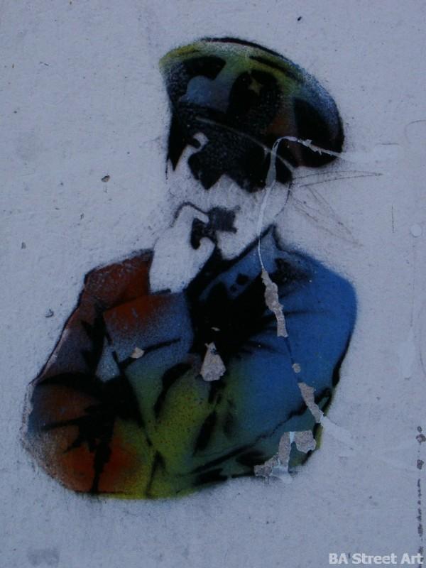 Charlie Chaplin in The Great Dictator stencil buenos aires graffiti tour buenosairesstreetart.com