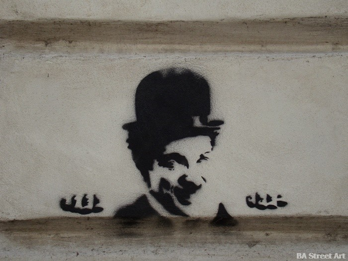 buenos aires graffiti tour stencil charlie chaplin buenosairesstreetart.com