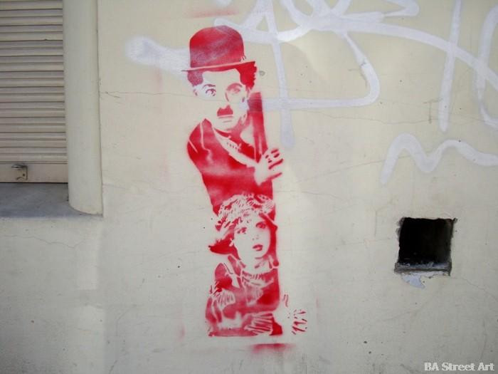 Charlie Chaplin stencil graffiti tour street art buenos aires buenosairesstreetart.com