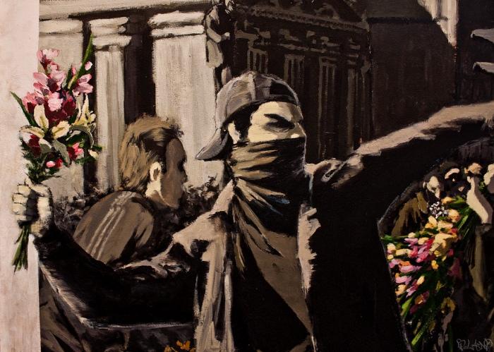 banksy flower thrower MOCA buenos aires street art buenosairesstreetart.com