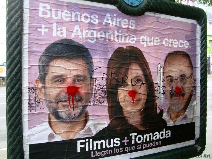 cristina fernandez de kirchner daniel filmus carlos tomada nariz roja graffiti elecciones buenos aires red nose elections argentina macri culture jamming foto buenosairesstreetart.com