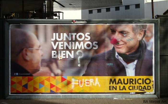 mauricio macri nariz roja graffiti elecciones buenos aires red nose elections argentina macri culture jamming foto buenosairesstreetart.com