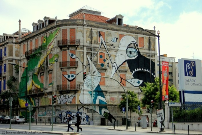 street art tour Ericailane and Lucy Mclauchlan Lisbon © buenosairesstreetart.com