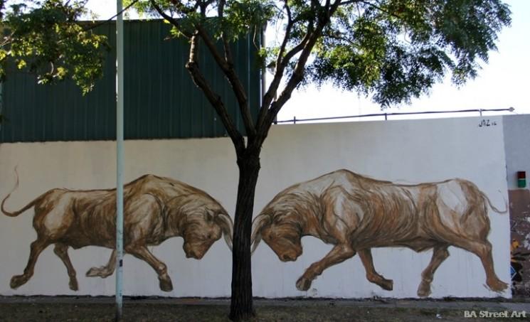 franco fasoli jaz mural buenos aires street art graffiti toros bulls bus depot arte urbano