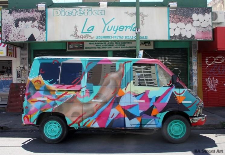 van graffiti colour street art geometric forms painted camioneta