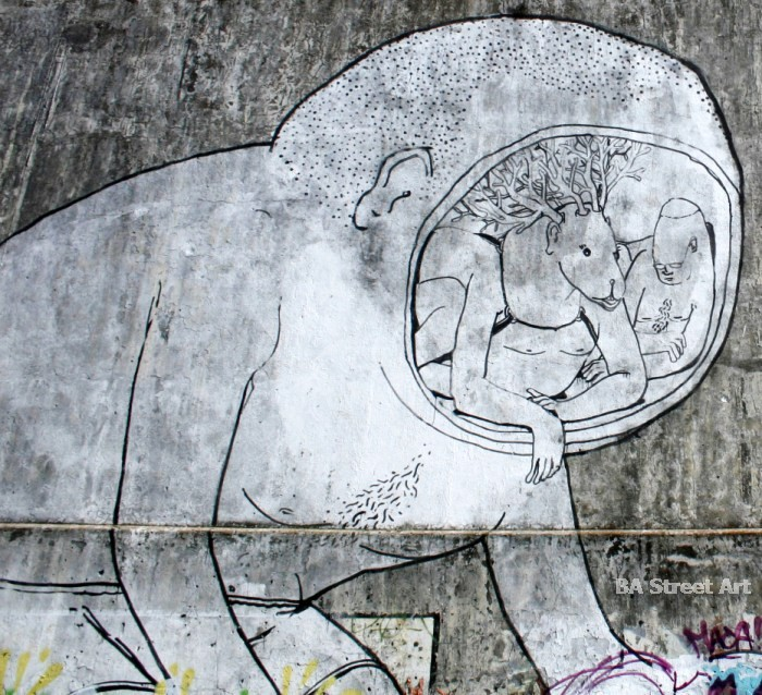 Blu muto video buenos aires graffiti argentina characters black white buenosairesstreetart.com street art mural
