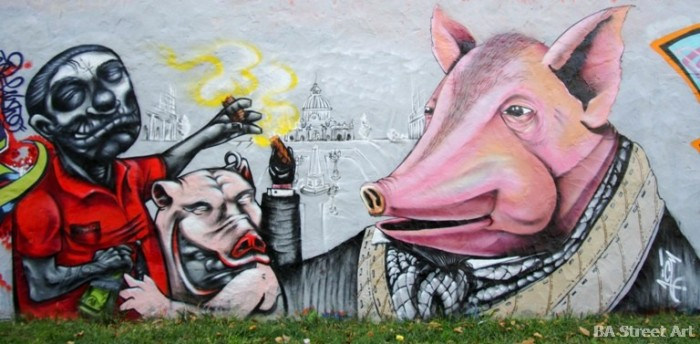 pigs politicians graffiti Ice and Crayfish buenos aires street art argentina graffiti buenosairesstreetart.com