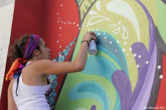 buenos aires graffiti tour carolina favale cuore artistastreet art mural buenosairesstreetart.com BA Street Art Tours