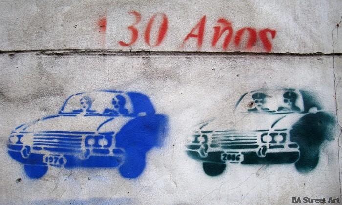 Ford Falcon graffiti stencil buenos aires street art tour buenosairesstreetart.com dictadura