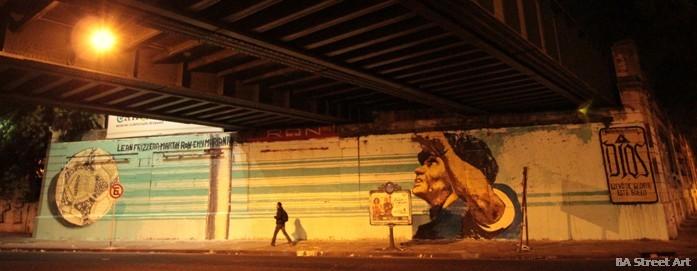 maradona graffiti buenos aires la mano de dios mural lean frizzera emy mariani martin ron buenos aires street art